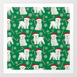 Maltese christmas festive dog breed holiday candy canes snowflakes pattern pet friendly dog art Art Print