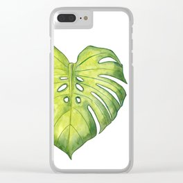 Two monstera leaves in watercolor Clear iPhone Case
