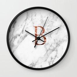Monogram rose gold marble B Wall Clock