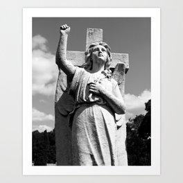 Angel and Cross Art Print