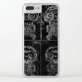 funny skull and bone with glasses in black and white Clear iPhone Case