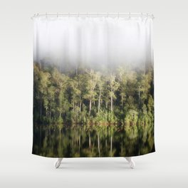 A tree lined lake on a foggy winter's Day Shower Curtain