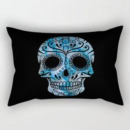 Blue Lace Sugar Skull Rectangular Pillow