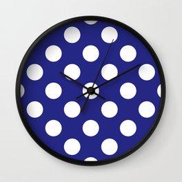 Geometric Candy Dot Circles - White on Navy Blue Wall Clock