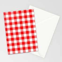 Jumbo Valentine Red Heart Rich Red and White Buffalo Check Plaid Stationery Cards