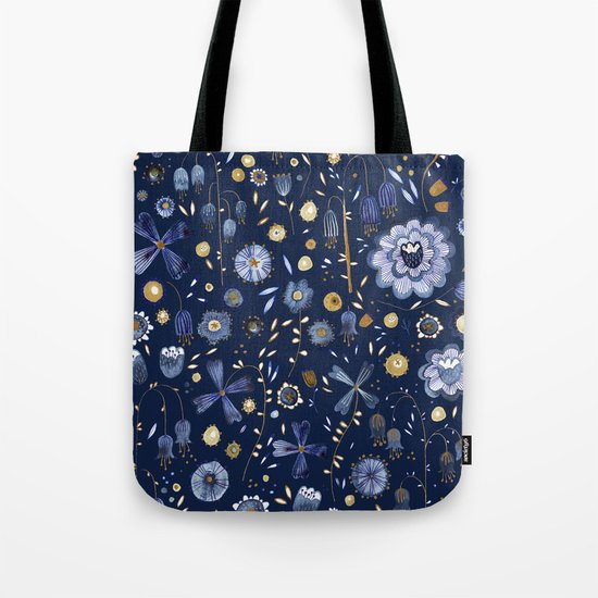 Indigo Flowers at Midnight Tote Bag