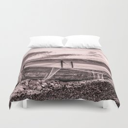 Old rusty boat with net (sepia) Duvet Cover