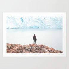 Glacier vs Man Art Print