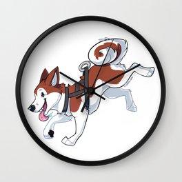 Brown Husky Running Wall Clock