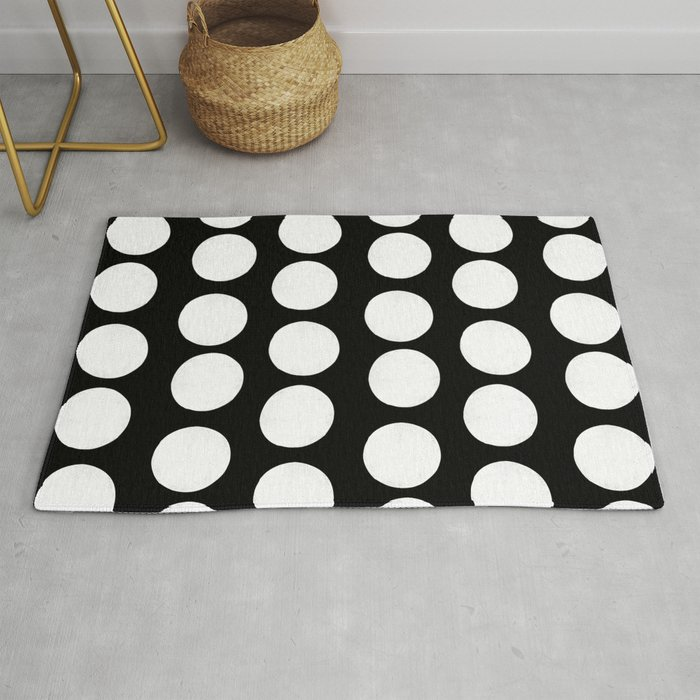 Linocut Black And White Polka Dots Dotted Pattern Minimalist Decor Nursery Rug By Monoo
