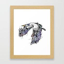 Heron Geometric Bird Framed Art Print