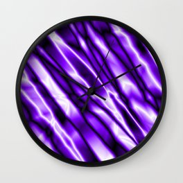 Shiny metal crooked mirror with violet reflective diagonal stripes. Wall Clock