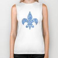 fleur de lis Biker Tanks featuring Blue Fleur de Lis by Riaora Creations