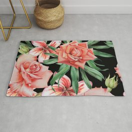 Roses on Black. Watercolor illustration. Hand drawn. Rug