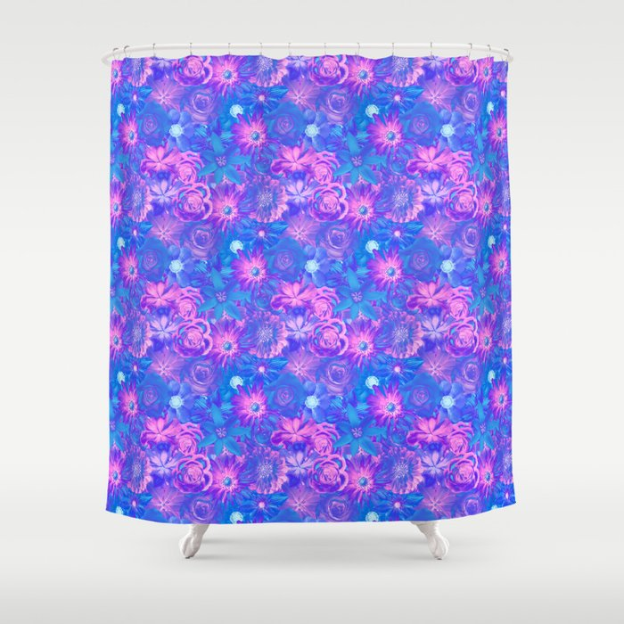 Dazzling Flowers - Red Passion Enchanted Flowers Shower Curtain