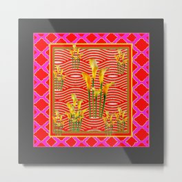 Hot Pink-Red Gold Calla Lilies Grey Art Metal Print