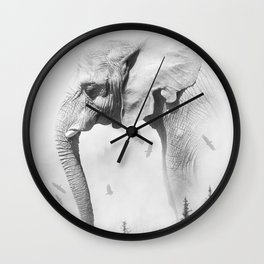 Elephant | Animal Photography | B&W | Nature | Fog | Wildlife | Abstract | Landscape Wall Clock
