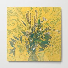Roadside Wildflowers Bouquet, Summer Floral, Golden Yellow Metal Print