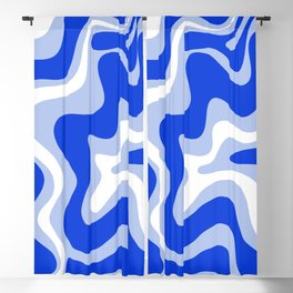 Retro Liquid Swirl Abstract Pattern Royal Blue, Light Blue, and White  Blackout Curtain