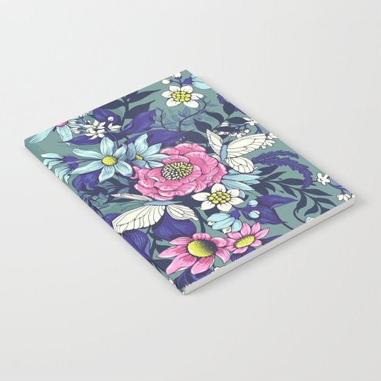 Thea's Garden - in teal tones Notebook
