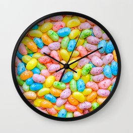 Colorful Pastel Speckled Jelly Bean Candies Photo Pattern Wall Clock