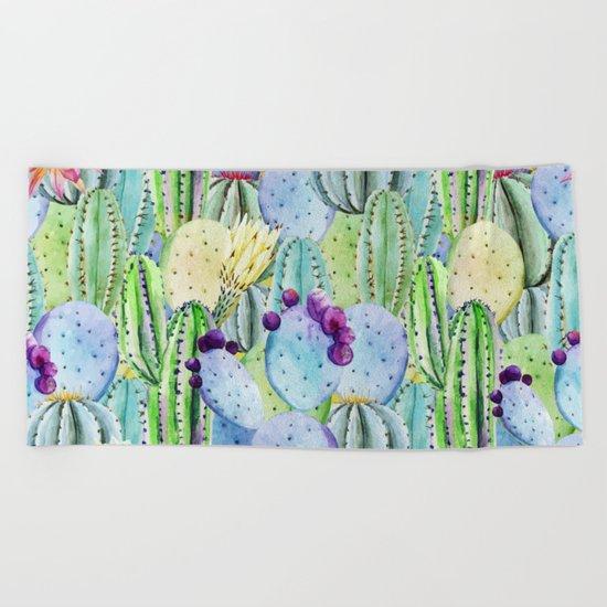 Cactus Pattern 14 Beach Towel