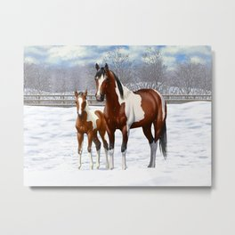 Bay Paint Horse Mare and Foal In Winter Metal Print