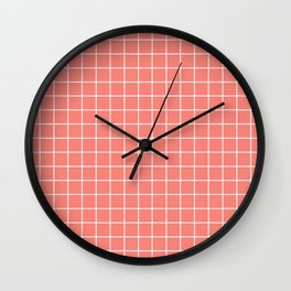Coral pink - pink color - White Lines Grid Pattern Wall Clock