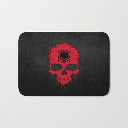 Flag of Albania on a Chaotic Splatter Skull Bath Mat