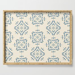 Portuguese tile style ornamental pattern - blue on cream Serving Tray