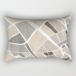 Barcelona City Center Map on Wood Rectangular Pillow