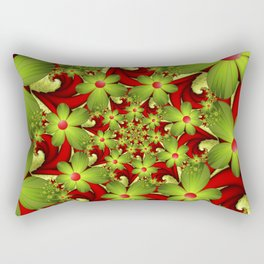 Fantasy Flowers Green And Red, Fractals Art Rectangular Pillow