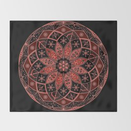 Autumn Fall Mandala Spirograph Art Pattern Design Rosette Throw Blanket