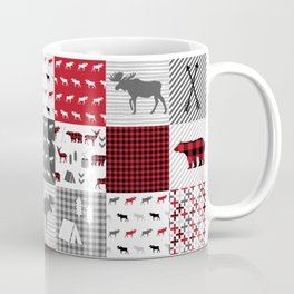Plaid camping cabin outdoors nature quilt design gender neutral kids baby design Coffee Mug