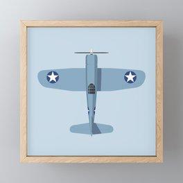 F4U Corsair WWII Fighter Aircraft - Grey Framed Mini Art Print