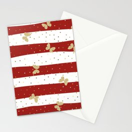 Butterfly Christmas seamless pattern and Gold Confetti on White and Red Stripes Background Stationery Cards