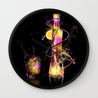 vodka Wall Clocks featuring Vodka Illustration by Apothec