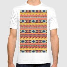 Navajo blanket pattern- orange MEDIUM White Mens Fitted Tee