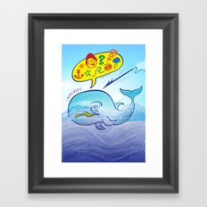 Wild whale saying bad words while fleeing a harpoon Framed Art Print