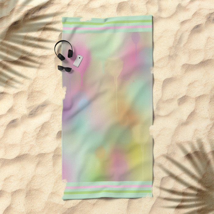 Soft pastel watercolour abstract Beach Towel