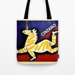 Vintage Cinzano Italian Yellow Zebra Advertisement Wall Art Tote Bag