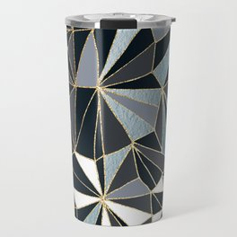 Stylish Art Deco Geometric Pattern - Black, blue, Gold #abstract #pattern Travel Mug
