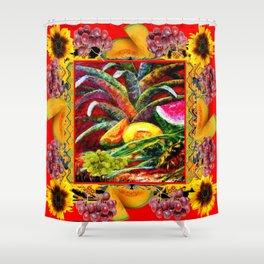 RED HARVEST STILL LIFE  FRUIT ART Shower Curtain