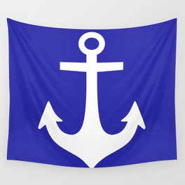 Anchor (White & Navy Blue) Wall Tapestry