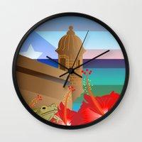 puerto rico Wall Clocks featuring Puerto Rico by PADMA DESIGNS PR