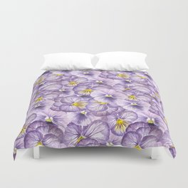 Watercolor floral pattern with violet pansies Duvet Cover