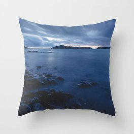 Blue Sunset on the Water, New Zealand Throw Pillow