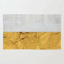 Gold Foil and Concrete Rug