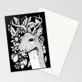 Deer over flowers Stationery Cards