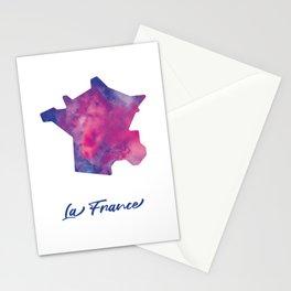 Carte de La France à l'aquarelle Stationery Cards